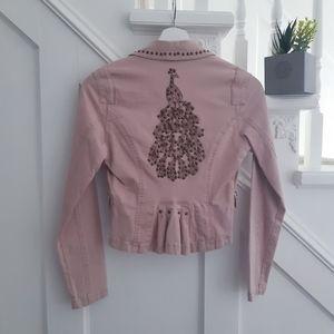 Pink peacock blazer jacket